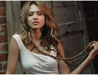 Beautiful Jessica Alba With Beads Wallpaper