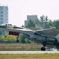 Su 35 Flanker 7 Scary Landing Wallpaper