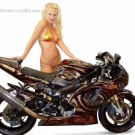 Super Bike With Hot Babe Wallpaper