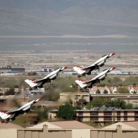 Thunderbirds In Diamond Formation Take Off Wallpaper