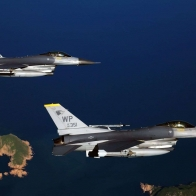 Two F16 Fighting Falcon Aircrafts