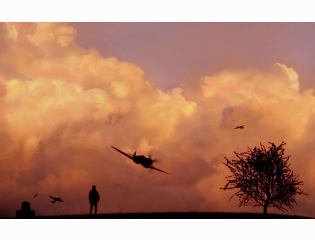 Watching A Spitfire At Sunset Wallpaper