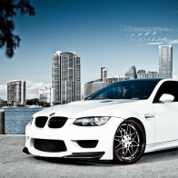 White Bmw M3 Over Miami Hd Wallpapers