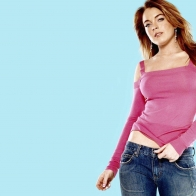 Widescreen Lindsay Lohan Pink Shirt Wallpaper Wallpapers