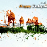 Wishing Happy Independence Day With Mahatma Gandhi Hd Wallpaper