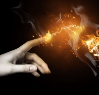 amp current hand finger fire smoke