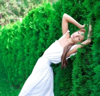 Beautiful Girl Near Green Fence Wallpaper