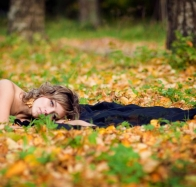 Black Dress Girl In Autumn Forest Wallpapers