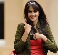Genelia D'souza Smiling In Red Wallpaper