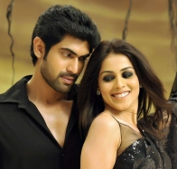 genelia dsouza smiling and rana daggubati in naa ishtam