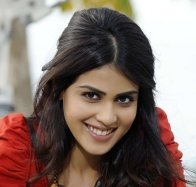 genelia dsouza smiling in red top in naa ishtam