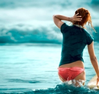 Girl And Blue Sea wallpaper