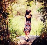 Girl Walking On Wood Bridge Wallpaper