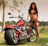 hot baby with motorbike wallpaper