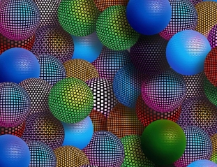 multi colored patterned spheres